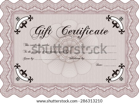 Modern gift certificate. With guilloche pattern. Border, frame.Good design.