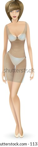 Modern girl in a translucent negligee. Vector woman