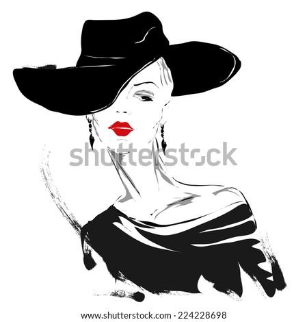 modern girl  sketch  red lips