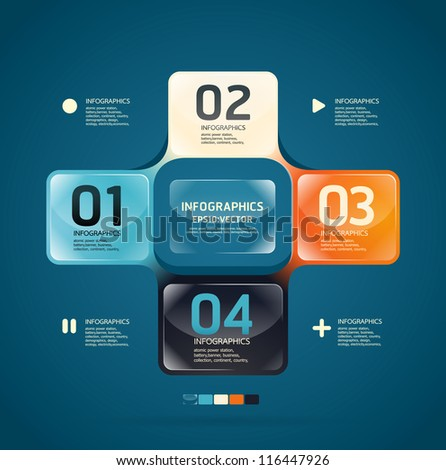 Modern glass color Design template  / can be used for infographics / numbered banners/ graphic or website layout vector