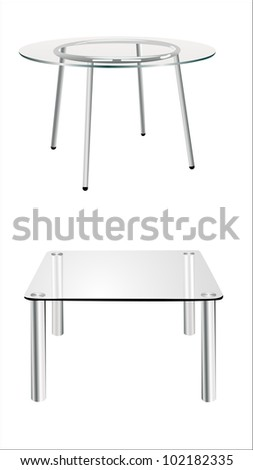 modern glass table isolated on white background - stock vector