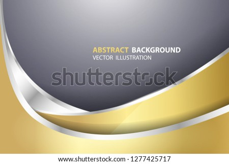 Modern glistening gold and silver geometric shapes on dark gradient background. Creative and luxury background design in EPS10 vector illustration.