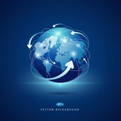 Modern globe connections network design, vector illustration