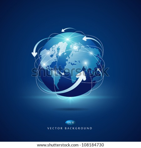 Modern globe connections network design, vector illustration - stock vector