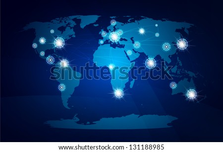 Modern globe connections network design, vector illustration
