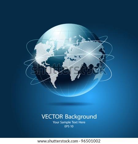 Modern globe network blue background, vector illustration