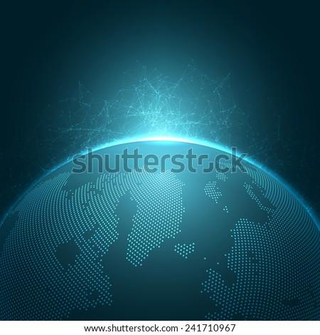 modern globe network vector