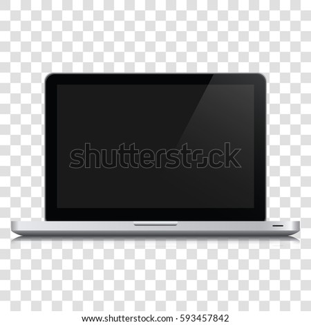 Modern glossy laptop isolated on transparent background. Laptop in macbook style gray color with blank screen isolated on transparent background. Laptop realistic with a blank screen