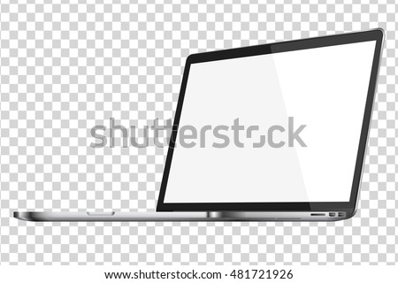 Modern glossy laptop isolated on transparent background. Top view. Vector illustration. EPS10.