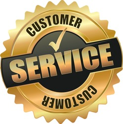 modern gold black customer service vector eps10 badge sign