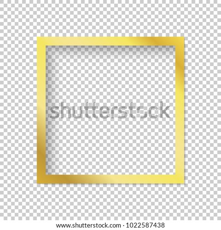 Modern gold vector empty frame isolated on transparent background. Metal gradient. Template for web, app, banners. Elegant color. Premium quality.