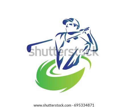 Modern Golf Logo - Flaming Blue Golfer Swing