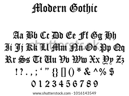 Modern Gothic Font, Gothic Letters, Numbers and Symbols, Full Modern Gothic Font
