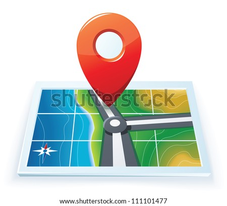 Modern gps map icon
