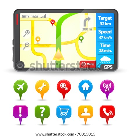 Modern Gps with colorful map pointers