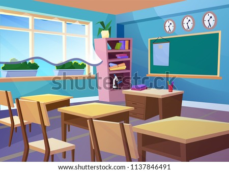 Modern gradient flat vector illustration of cartoon empty school classroom interior. Education class room school concept background.
