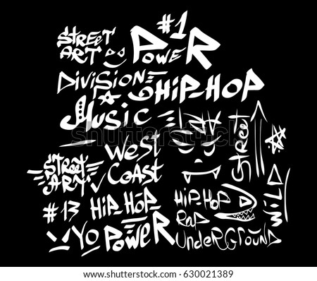Modern Graffiti Tags On A Black Background Vector Art