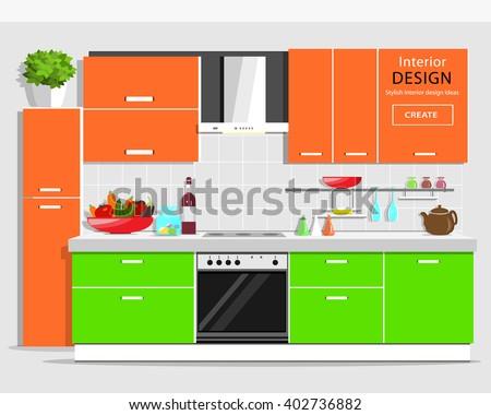 modern graphic kitchen interior