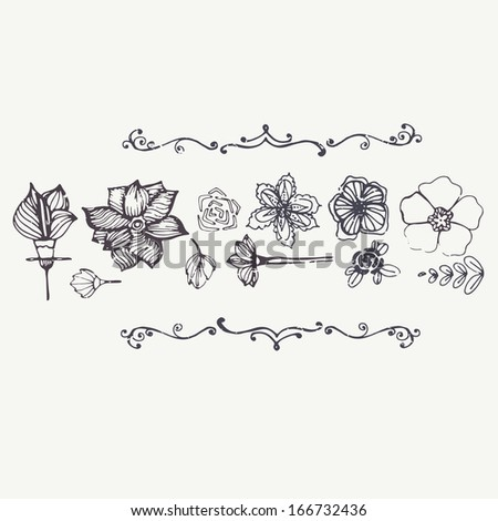 Modern graphical card with hand drawn flowers and vintage texture with perfect elegant frames on white background. Fully editable illustration drawn in vector by hand.  #166732436