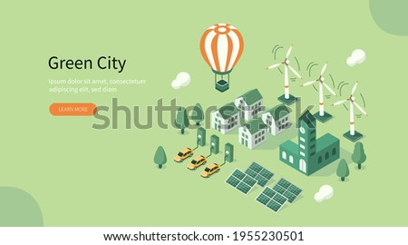 Modern Green City Center with  Private Houses, Solar Energy Panels, Windmills and Electric Cars. Eco Town Powered by Renewable Energy. Ecology Concept. Flat Cartoon Vector Illustration.