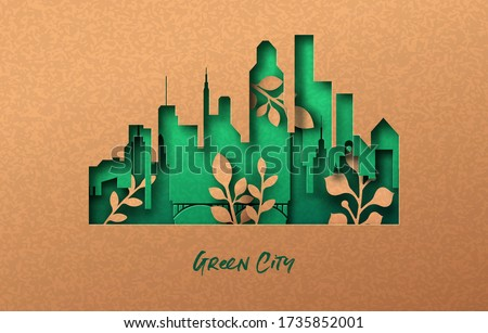 Modern green city papercut illustration with tower building skyline and plant leaf growing inside. Eco-friendly urban lifestyle, 3d cutout concept in recycled paper background for environment help.