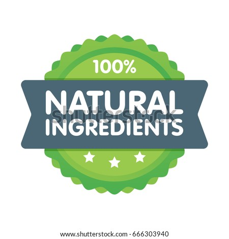 Modern green eco badge. 100 percent natural ingredients label. Sticker vector illustration.