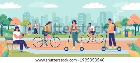 Modern green ecology city with park area, ecological transport and young people resting in the park