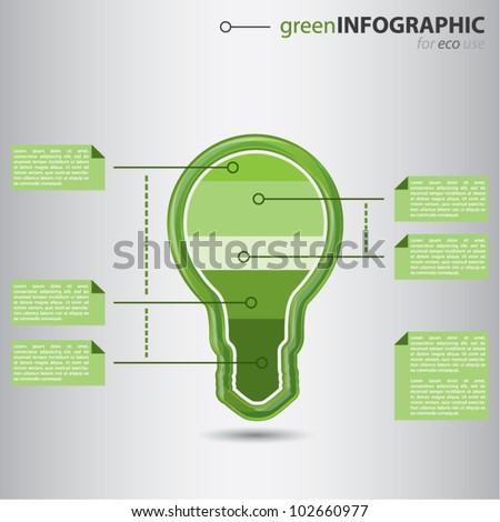 Modern green high-tech bulb with graphic value presentation inside, ecology business info graphic concept, vector illustration