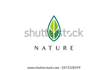 modern green leaf logo in