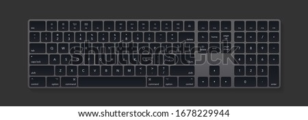 Modern grey keyboard isolated on black background. Minimalistic keyboard with black buttons. Vector illustration