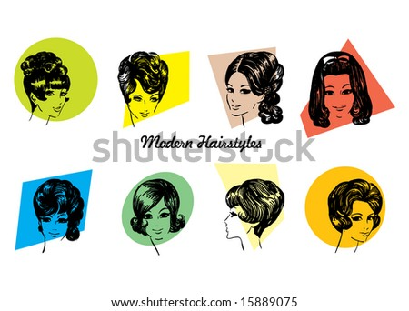 stock vector : Modern Hairstyles - 8 Vintage Hairstyles