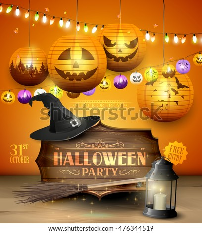 Modern Halloween party flyer with wooden sign, old hat and colorful paper lanterns and lights on orange background.