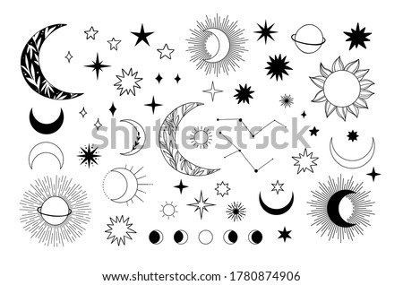Modern hand drawn vector illustration of planet, star, sun, comet. Universe line drawings. Solar system and Cosmos. Trendy space signs with floral motifs, constellation, moon phases