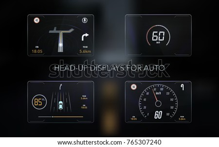 Modern head up display and elements for it. HUD interface. Vector Illustration.