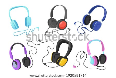 Modern headphones flat illustration set. Cartoon headsets and earphones for listening to music isolated vector illustration collection. Entertainment and accessory concept