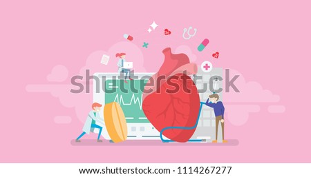 Modern Heart Medication Solution Tiny People Character Concept Vector Illustration, Suitable For Wallpaper, Banner, Background, Card, Book Illustration, And Web Landing Page Concept