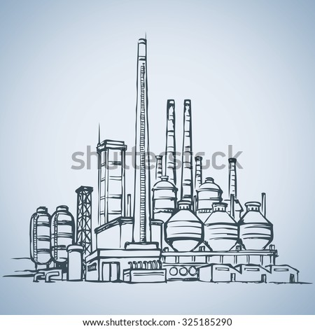 Modern heavy technical catalyst powerhouse rig mainstay building. Environment pollute, ecology concept symbol. Doodle freehand ink drawn background sketch in art retro style with space for text on sky