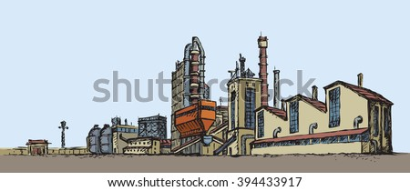 Modern heavy technical catalyst powerhouse rig mainstay building. Environment pollute, ecology concept symbol. Doodle freehand color drawn background sketch in retro style with space for text on sky