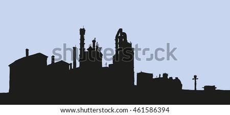Modern heavy technical catalyst powerhouse rig mainstay building. Environment pollute, ecology concept symbol. Dark ink drawn background sketch in retro engraving style with space for text on sky