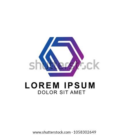 Stock Photo modern hexagon gradiation  logo design vector illustration. company logo. technology logo design