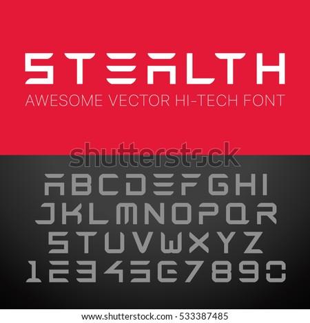 modern hi tech font vector