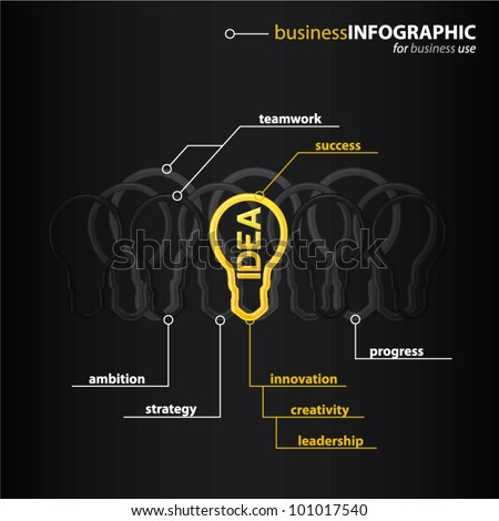Modern high-tech bulb with shiny yellow IDEA sign inside, e-business info graphic concept, vector illustration