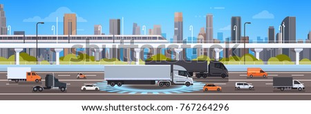 Modern Highway Road With Cars, Lorry And Cargo Trucks Over City Background Traffic Concept Flat Vector Illustration