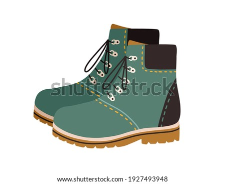 Modern hiking or tracking boots with flat sole and laces. Fashion casual walking footwear. Colored vector illustration of trendy trekking shoes isolated on white background