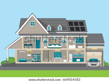 Modern Home Design Exterior And Interior Room With Furniture. Flat Style  Vector Illustration.