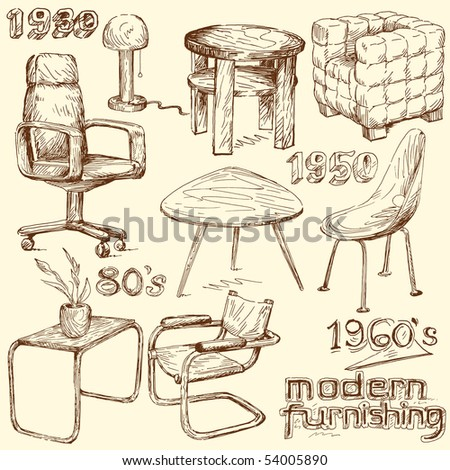 modern home furniture doodles - stock vector