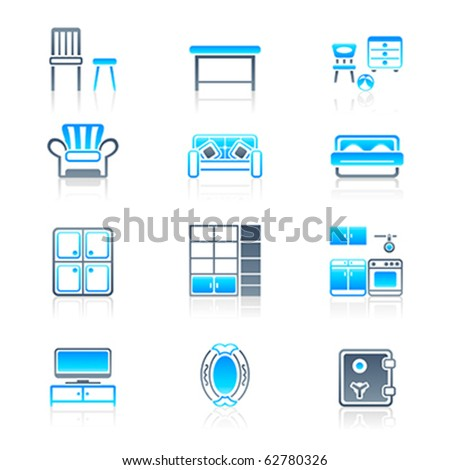 Modern Furniture Icon modern home furniture icon set in blue-gray colors stock vector