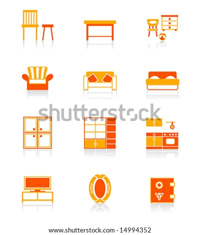 Modern home furniture icon set in red-orange.