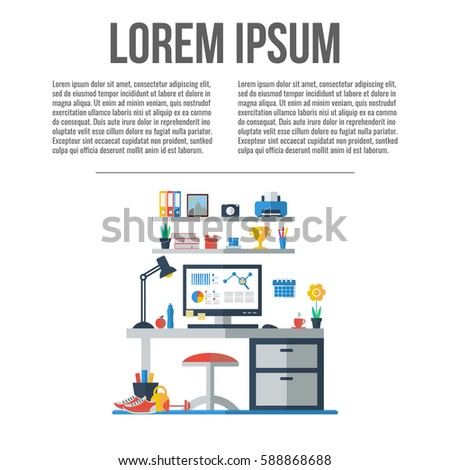 Modern home office interior. Workplace with table, computer, shelf, lamp. Vector illustration with place for your text.