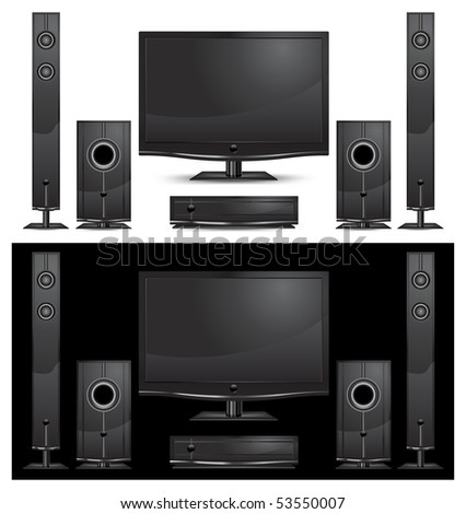 modern home theater interior on white background, vector illustration
